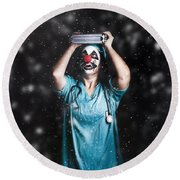 Crazy Doctor Clown Laughing In Rain Round Beach Towel