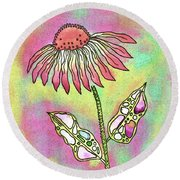 Crazy Flower With Funky Leaves Round Beach Towel