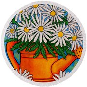 Crazy For Daisies Round Beach Towel