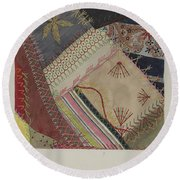 Crazy Quilt (detail) Round Beach Towel