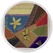 Crazy Quilt (section) Round Beach Towel