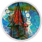 Crazy Red House In The Clouds Whimsy Round Beach Towel