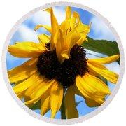 Crazy Sunflower Look Round Beach Towel