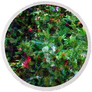 Crazyquilt Garden Round Beach Towel