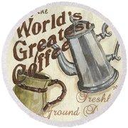 Cream Coffee 1 Round Beach Towel by Debbie DeWitt