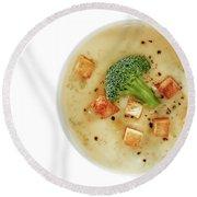 Cream Of Broccoli Soup Round Beach Towel