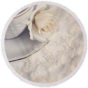Cream Rose On White China Cup Round Beach Towel