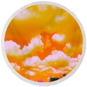 Creamsicle Sky Round Beach Towel