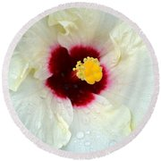 Creamy Hibiscus With Rain Drops Round Beach Towel