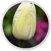 Creamy Pale Lemon Tulip Round Beach Towel