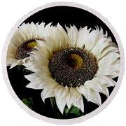 Creamy Sunflowers Round Beach Towel