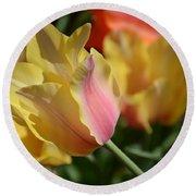 Creamy Yellow Tulip Round Beach Towel