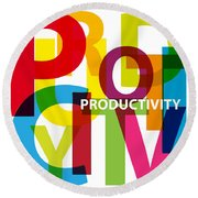 Creative Title - Productivity Round Beach Towel
