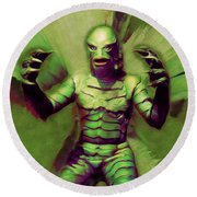 Creature From The Black Lagoon Round Beach Towel