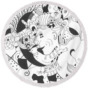 Creatures And Features Round Beach Towel by Helena Tiainen