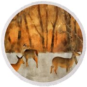 Creatures Of A Winter Sunset Round Beach Towel