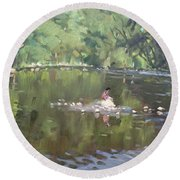 Credit River By Norval On Round Beach Towel