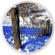 Creek Fenceline Round Beach Towel