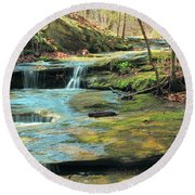 Creek In Dappled Light At Don Robinson State Park 1 Round Beach Towel