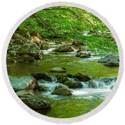 Creek In Great Smoky Mountains National Round Beach Towel