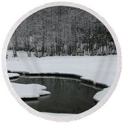 Creek In Snowy Landscape Round Beach Towel