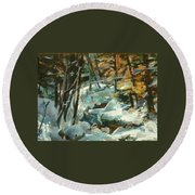 Creek In The Cold Round Beach Towel