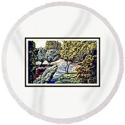 Creek In The Forest Framed Round Beach Towel