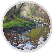 Creek In The Woods Round Beach Towel