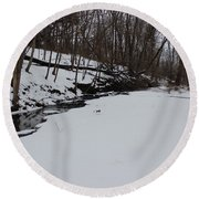 Creeks Battles The Snow And Cold To Remain Flowing. Round Beach Towel