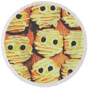 Creepy And Kooky Mummified Cookies  Round Beach Towel