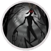 Creepy Nightmare Waiting In The Dark Forest Round Beach Towel