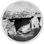 Creevykeel Court Cairn County Sligo Ireland Round Beach Towel