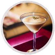 Creme Caramel Martini Cocktail In Bar Round Beach Towel