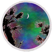 Crescent And Palms 2 Round Beach Towel