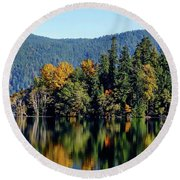 Crescent Lake Fall Colors Round Beach Towel