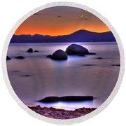 Crescent Moon Above Tahoe Round Beach Towel