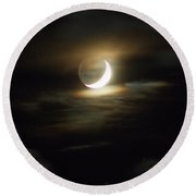Crescent Moon In The Clouds Round Beach Towel