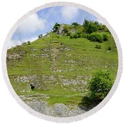 Cressbrook Dale Opposite To Tansley Dale Round Beach Towel