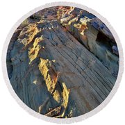 Crest Of Sandstone Wave At Sunset In Valley Of Fire Round Beach Towel