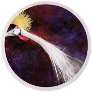 Crested Bird Round Beach Towel
