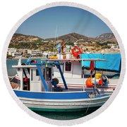 Crete Fishing Boats Round Beach Towel