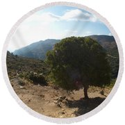 Crete Inland View Round Beach Towel