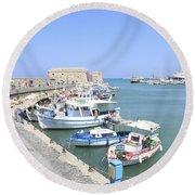 Crete Island Harbour  Round Beach Towel