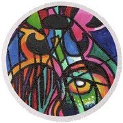 Creve Coeur Streetlight Banners Whimsical Motion 19 Round Beach Towel