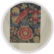 Crewel Embroidered Panel Round Beach Towel