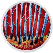 Crimson Birch Trees Round Beach Towel