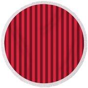 Crimson Red Striped Pattern Design Round Beach Towel