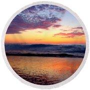 Crimson Wave Art 2 Round Beach Towel