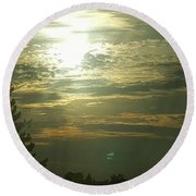 Crinkled Forehead Lines In The Sky Round Beach Towel