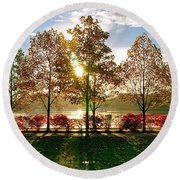 Crisp Autumn Day Round Beach Towel